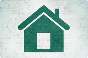 Home Icon with Digital Artifacts